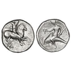 """Calabria, Tarentum, AR didrachm, ca. 344-334 BC, """"boy on dolphin."""""""