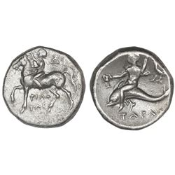 "Calabria, Tarentum, AR didrachm, ca. 281-240 BC, ""boy on dolphin,"" NGC Ch VF / brushed, strike 4/5,"