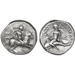 """Calabria, Tarentum, AR didrachm, ca. 240-228 BC, Olympis, magistrate, """"boy on dolphin,"""" NGC Ch XF /"""