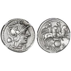 Roman Republic, AR denarius, Ti. Quinctius 126 BC, Rome mint, NGC XF.