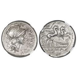 Roman Republic, AR denarius, M. Cipius M.f., 115-114 BC, Rome mint, NGC XF.