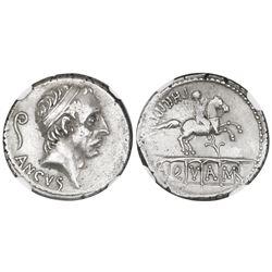 Roman Republic, AR denarius, L. Marcius Philippus, 57-56 BC, Rome mint, NGC XF.