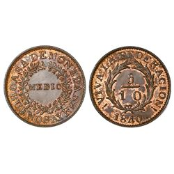 Buenos Aires, Argentina, copper 1/2 real (5/10), 1840, NGC MS 64 RB, finest known in NGC census, ex-
