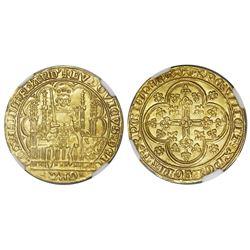 Flanders, Belgium, gold chaise d'or, Louis II de Male (1346-84), NGC MS 64.