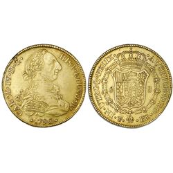 Potosi, Bolivia, gold bust 8 escudos, Charles IV transitional (bust of Charles III, ordinal IV/III),