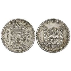 Potosi, Bolivia, pillar 8 reales, Charles III, 1768JR, hooked 6, dot after king's name, six-petal ro