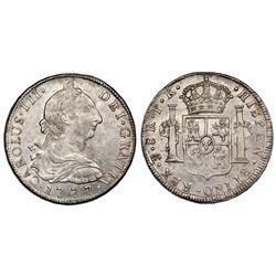 Potosi, Bolivia, bust 8 reales, Charles III, 1777PR, NGC MS 63.