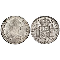 Potosi, Bolivia, bust 8 reales, Charles III, 1780PR, NGC MS 62+, finest known in NGC census.