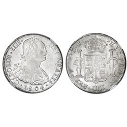 Potosi, Bolivia, bust 8 reales, Charles IV, 1804PJ, NGC AU 58.