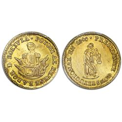 Potosi, Bolivia, gold medallic 1 scudo, 1840, Velasco, rare, PCGS AU details / scratch, ex-Whittier