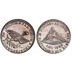 Potosi, Bolivia, medallic 1 sol, 1829, Santa Cruz / dove / Cerro de Potosi, PCGS MS62, ex-Whittier (