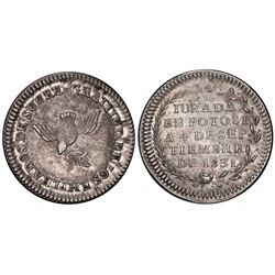Potosi, Bolivia, medallic 1 sol, 1831, Santa Cruz / dove and Ballivian / Sucre, PCGS MS61, ex-Whitti