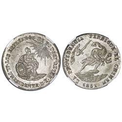 Potosi, Bolivia, medallic 2 soles, 1852/1, Belzu / criminal, coin axis, plain edge, NGC MS 65.