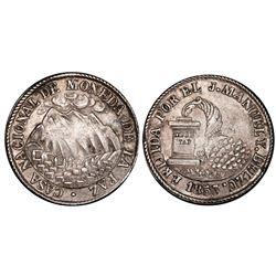La Paz, Bolivia, medallic 2 soles, 1853, Belzu / mountains / cornucopia, coin axis, PCGS AU58, ex-Wh
