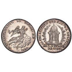Potosi, Bolivia, Piedfort medallic 1 sol, 1852, Belzu / angel / temple, PCGS MS62, ex-Whittier (stat