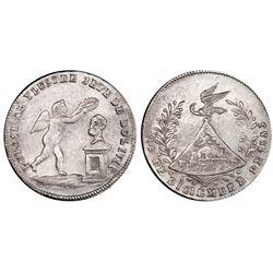 Potosi, Bolivia, medallic 1 sol, 1853, Belzu / Christmas Eve, coin axis, PCGS MS63, ex-Whittier (sta