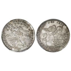 Potosi, Bolivia, medallic 1 sol, 1857, Cordova / angel / condor, coin axis, PCGS AU58, ex-Whittier (