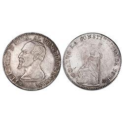 Potosi, Bolivia, medallic 1/2 peso, 1861, Acha / Liberty / Cochabamba, coin axis, PCGS AU58, ex-Whit