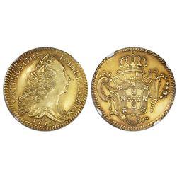 Brazil (Rio mint), gold peca (6400 reis), Jose I, 1775-R, NGC UNC details / cleaned.