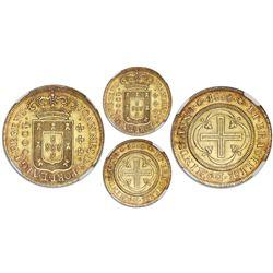Brazil (Rio mint), gold moeda (4000 reis), Joao Prince Regent, 1808, six-petal florettes flanking da