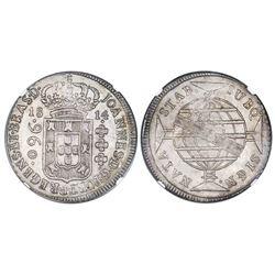 Brazil (Bahia mint), patacao (960 reis), Joao Prince Regent, 1814-B, struck over a Spanish colonial