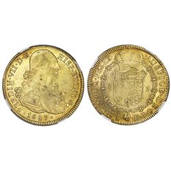Santiago, Chile, gold bust 8 escudos, Ferdinand VII (bust of Charles IV), 1817FJ, NGC MS 61.