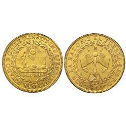 Santiago, Chile, gold 8 escudos, 1819FD, NGC AU 58.
