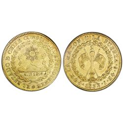 Santiago, Chile, gold 4 escudos, 1833, assayer I, PCGS XF40, finest known in both NGC and PCGS censu