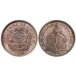 Santiago, Chile, pattern 8 escudos in copper, 1836IJ, NGC MS 64 BN.