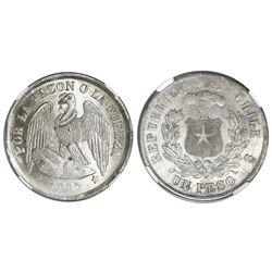 Santiago, Chile, 1 peso, 1887, rare, NGC MS 63.