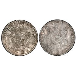 Potosi, Bolivia, pillar 8 reales, Charles III, 1769JR (curved 9), no dot after king's name, four-pet