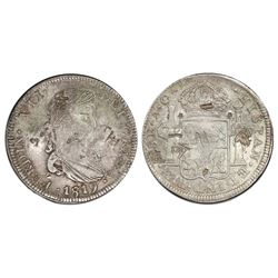 Zacatecas, Mexico, bust 8 reales, Ferdinand VII, 1819AG, with chopmarks as from circulation in Asia,