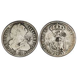 Madrid, Spain, bust 4 reales, Charles III, 1775PJ, with chopmarks as from circulation in Asia, PCGS