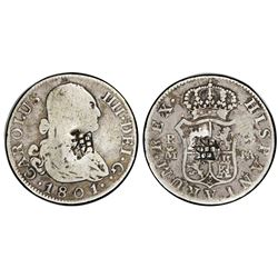Madrid, Spain, bust 2 reales, Charles IV, 1801FA, with chopmarks as from circulation in Asia, PCGS g