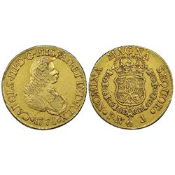 Popayan, Colombia, gold bust 8 escudos, Charles III (bust of Ferdinand VI), 1771J, NGC VF 30.