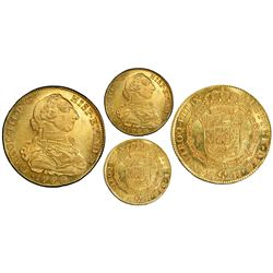 Bogota, Colombia, gold bust 8 escudos, Charles III, 1776JJ, dot between J's, PCGS MS64, finest known