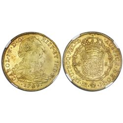 Bogota, Colombia, gold bust 8 escudos, Charles IV transitional (bust of Charles III, ordinal IV/III)