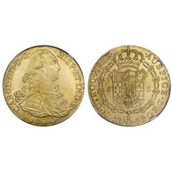 Bogota, Colombia, gold bust 8 escudos, Charles IV, 1800JJ, NGC MS 62.