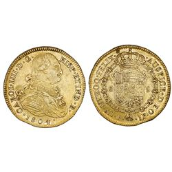 Popayan, Colombia, gold bust 8 escudos, Charles IV, 1804JF.
