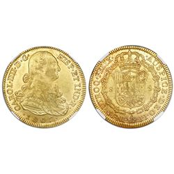 Bogota, Colombia, gold bust 8 escudos, Charles IV, 1807JJ, NGC MS 62.