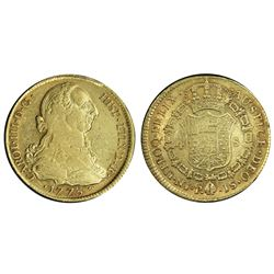 Popayan, Colombia, gold bust 4 escudos, Charles III, 1773JS, PCGS AU53.