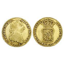 Bogota, Colombia, gold 2 escudos, Charles III, 1765JV, rare.