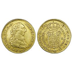 Bogota, Colombia, gold bust 2 escudos, Charles III, 1772VJ.