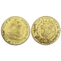 Bogota, Colombia, gold bust 2 escudos, Charles III, 1777/6JJ.