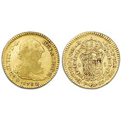 Popayan, Colombia, gold bust 2 escudos, Charles III, 1782SF.