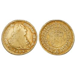 Popayan, Colombia, gold bust 2 escudos, Charles IV, 1802JF, no overdate, very rare.