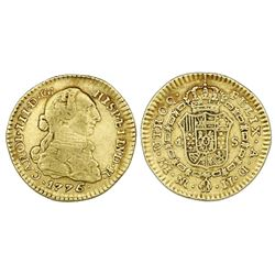 Bogota, Colombia, gold bust 1 escudo, Charles III, 1776/5JJ, rare.