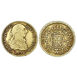 Popayan, Colombia, gold bust 1 escudo, Charles III, 1776SF.