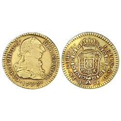 Popayan, Colombia, gold bust 1 escudo, Charles III, 1777SF.