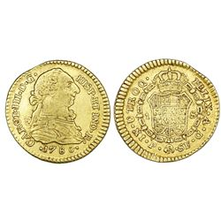 Popayan, Colombia, gold bust 1 escudo, Charles III, 1780SF.